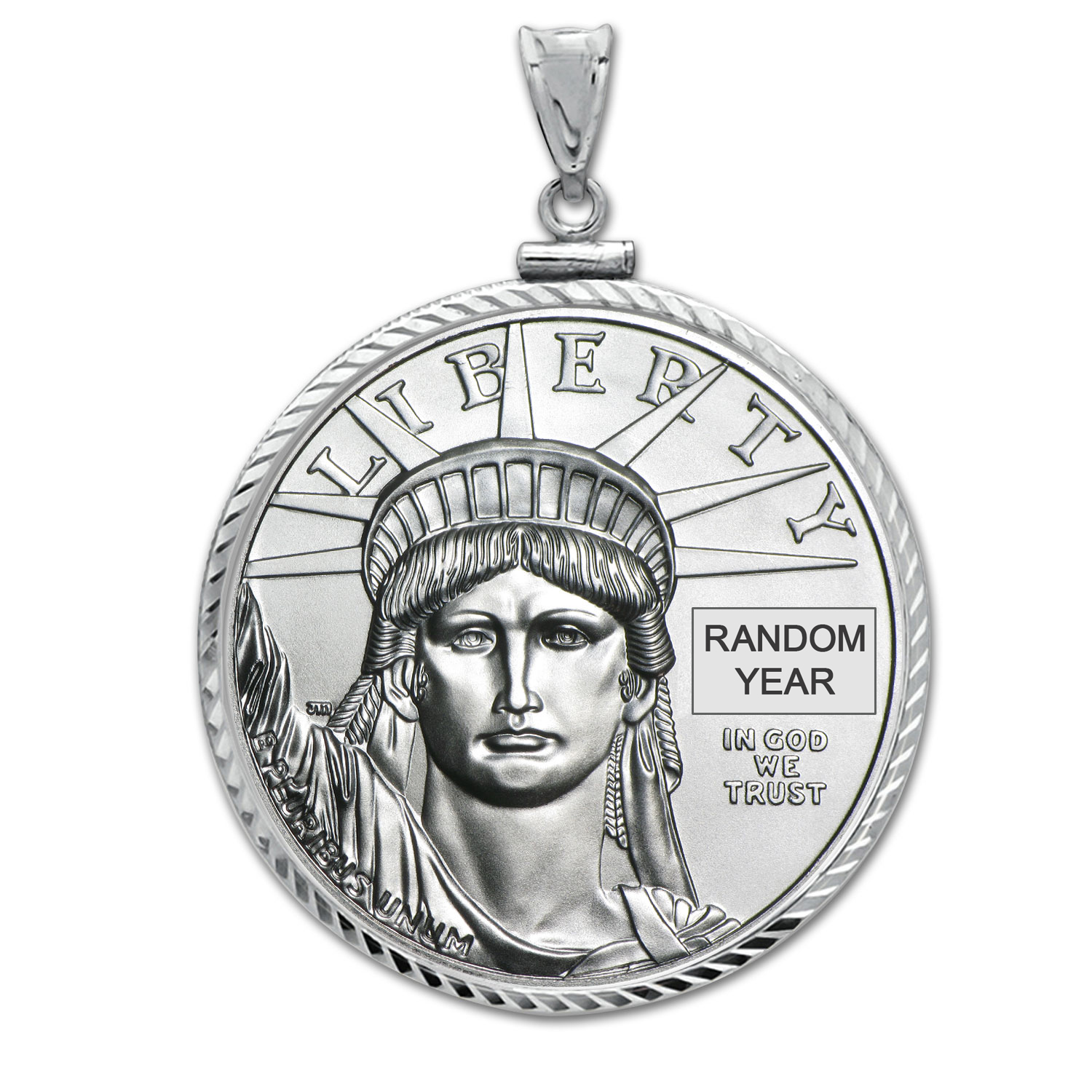 1/4 oz Platinum Eagle White Gold Pendant (DiamondScrewTop Bezel)